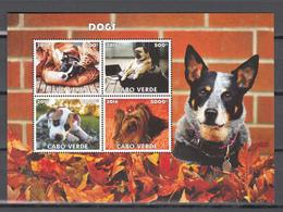 Cabo Verde 2016,4V In Block,dogs,honden,hunde,chiens,perros,cani,,MNH/Postfris(L3417) - Honden