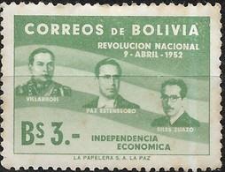 BOLIVIA 1953 1st Anniv Of Revolution - 3b Villarroel, Paz Estenssoro And Siles Zuazo MH - Bolivia