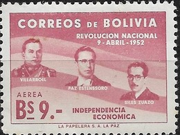 BOLIVIA 1953 1st Anniv Of Revolution - 9b Villarroel, Paz Estenssoro And Siles Zuazo MH - Bolivie