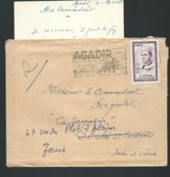 """Lac Affranchie Par Maroc Yvert N° 365 Oblitéré Flamme """"Agadir 300 Jours De Soleil , Bains, Pèche, ECT En 1958   LX0503 - Maroc (1956-...)"""