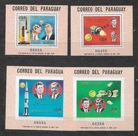 #B205# PARAGUAY MICHEL BL 124,125,126,127 MUESTRA MNH**, SPACE. KENNEDY, VON BRAUN. - Paraguay