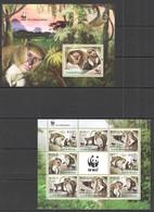 VV706 2013 GUINE GUINEA-BISSAU FAUNA ANIMALS WWF MONKEYS 1KB+1BL MNH - W.W.F.