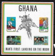 #B132# GHANA MICHEL BL 40 MNH** SPACE. OVERPRINTED LONDON 1970. - Ghana (1957-...)