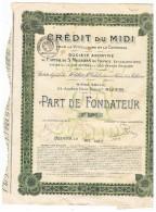 Credit Du Midi   Béziers   Parts  De Fondateur Viticulture Et Commerce - Banque & Assurance