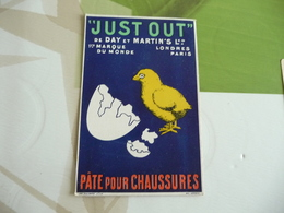 Carte CPA Pub Just Out Day Et Martins Pâte Pour Chaussures Poussin Oeuf Paris Londres - Werbepostkarten