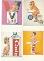 """6 CPM:ÉROTIQUE FEMMES AUX SEINS NUS PUBLICITÉ """"VALVOLINE MOTOR OIL,CIGARETTES VANTAGE,DENTIFRICE COLGATE,TOMATO CATSUP.. - Publicité"""
