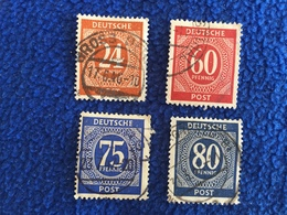 Germany: Set Of 4 Unidentified  Official Numerical  Stamps Canceled & Hinged, Nice Strice On 1 Mark - Used Stamps