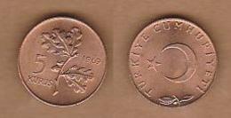 AC - TURKEY 1969 5 KURUS COPPER COIN UNCIRCULATED - Turquie