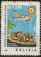 BOLIVIA 1962 Armed Forces Commemoration -  5000b Overseas Flights (Lockheed Super Electra Airplane Over Oxen-cart) FU - Bolivie