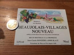 Etiquette Vin «BEAUJOLAIS VILLAGES NOUVEAU -Jean-Claude RONZIÈRE - BLACÉ (69)» - Beaujolais