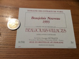 Etiquette Vin 1993 «BEAUJOLAIS VILLAGES NOUVEAU - DOMAINE DES COTEAUX DE VURIL - Georges DUTRAIVE - Charentay (69) - Beaujolais