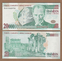 AC - TURKEY 7th EMISSION 20 000 000 TL K CONSECUTIVE NUMBERS  BOTH UNCIRCULATED - Turquie