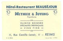 Carte Commerciale Hôtel Restaurant Beauséjour Meynier & Juving , Reims - Publicités