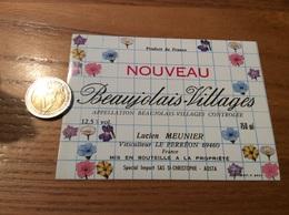 Etiquette Vin « BEAUJOLAIS VILLAGES NOUVEAU - LUCIEN MEUNIER - LE PERRÉON (69)» (fleur) - Beaujolais
