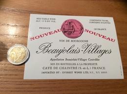 Etiquette Vin « BEAUJOLAIS VILLAGES NOUVEAU - CAVE DE CHAINTRÉ (71)» Export. USA - Beaujolais