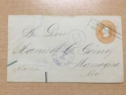 FL3698 Costa Rica Ganzsache Stationery Entier Postal Umschlag Von Limon Nach Managua Repariert - Costa Rica
