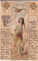 CPA  Représentation NOVEMBRE - Signe Astrologique Sagittaire - Fantaisie Femme + Anges - 1901 - Astrologie