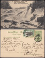 """Congo Belge - EP Vue 5C Vert + Timbre 5C Vert Voyagé - Nº64 """" Chute De La Pozo Près Stanleyville """" (DD) DC1082 - Congo Belge - Autres"""