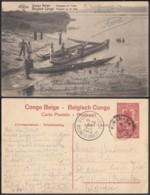 """Congo Belge - EP Vue 10C Rouge Voyagé - Nº41  """"Pirogues Dur L'Uele"""" (DD) DC1090 - Belgian Congo - Other"""