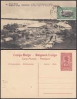 """Congo Belge - EP Vue 10C Rouge + Timbre 5C Vert  - Nº44 Léopoldville  """"Le Port"""" (DD) DC1091 - Belgian Congo - Other"""