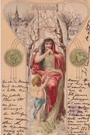 CPA  Représentation DECEMBRE - Signe Astrologique Capricorne- Fantaisie Femme + Anges - 1901 - Astrologie