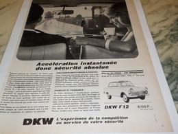 ANCIENNE PUBLICITE VOITURE DKW F 12  1965 - Publicités