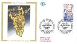 FDC 50ème Anniversaire De La Libération De La Corse Premier Département Français Libéré (20 Ajaccio Bastia 09/10/1993) - FDC