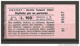 ITALIA - Biglietto Autobus PESARO AMANUP Trasporto Urbano - Europe