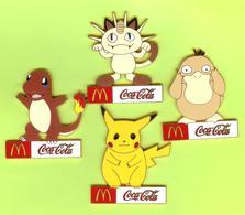 4 Gros Pins BD Mac Do McDonald's Pokémon Pikachu Salamèche Miaouss Psykokwak - #121 - Coca-Cola