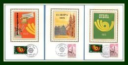 Carte Maximum Silk Soie France N° 1752 1753 Europa 1973 Paris + Strasbourg - Europa-CEPT