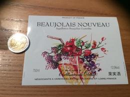 Etiquette Vin «BEAUJOLAIS NOUVEAU - Etablissements Cruse - VARENNES-LES-MACON (69)» (fruit) - Beaujolais