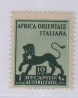 1942 AOI Recapito Autorizzato 10 C. MLH - Africa Orientale Italiana