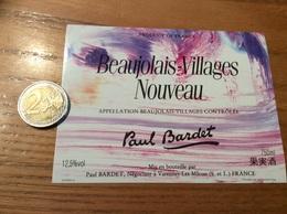 Etiquette Vin «BEAUJOLAIS VILLAGES NOUVEAU - Paul Bardet - VARENNES-LES-MACON (69)» - Beaujolais