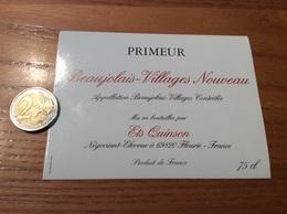 Etiquette Vin «BEAUJOLAIS VILLAGES NOUVEAU - Ets Quinson - Fleurie (69)» - Beaujolais