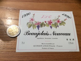 Etiquette Vin 1990 «BEAUJOLAIS NOUVEAU - JL Quinson - Fleurie (69)» - Beaujolais