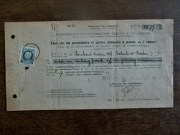 Taxe Op De Automobielen En Andere Motor - Of Stoomvoertuigen   Afgest.  1927  MOLL - 1900 – 1949