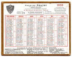 Petit Calendrier Cartonné 1933. A.Coutot, Avocat Généalogiste, Recherche D'héritiers. Paris, Bd. St. Germain. - Calendriers