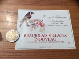 Etiquette Vin « BEAUJOLAIS VILLAGES NOUVEAU - LOUIS TÊTE -SAINT-DIDIER-SUR-BEAUJEU (69)» (oiseau) - Beaujolais