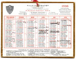 Petit Calendrier Cartonné 1936. A.Coutot, Avocat Généalogiste, Recherche D'héritiers. Paris, Bd. St. Germain. - Petit Format : 1921-40