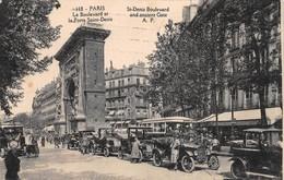 Cartolina Paris Boulevard Et Porte Saint Denis Animata Auto D'epoca Taxi 1925 - Non Classificati