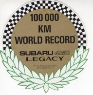 100 00 KM World Record - Subaru 4WD Legacy - Autocollant / Adesivi / Aufkleber / Stickers - Adesivi