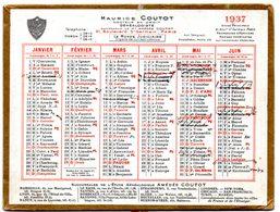 Petit Calendrier Cartonné 1937. A.Coutot, Généalogiste, Recherche D'héritiers. Paris, Bd. St. Germain. - Petit Format : 1921-40