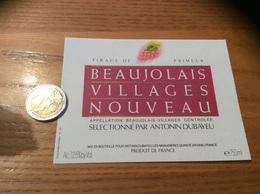 Etiquette Vin « BEAUJOLAIS VILLAGES NOUVEAU - ANTONIN DUBAYEU - QUINCIÉ (69)» - Beaujolais