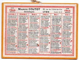Petit Calendrier Cartonné 1944. A.Coutot, Généalogiste, Recherche D'héritiers. Paris, Bd. St. Germain. - Petit Format : 1941-60