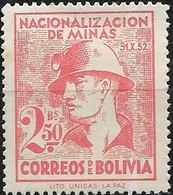 BOLIVIA 1953 Nationalization Of Mining Industry - 2b50  Miner MH - Bolivia