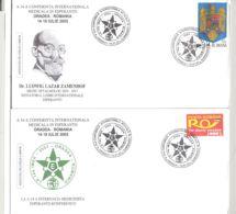 LANGUAGES, ESPERANTO, LUDWIG ZAMENHOF, SPECIAL COVER, 2X, 2003, ROMANIA - Esperanto