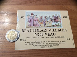 Etiquette Vin 1990 « BEAUJOLAIS VILLAGES NOUVEAU - Georges LENOIR - QUINCIÉ (69)» - Beaujolais