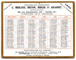 Petit Calendrier Cartonné 1934, Merlaud, Breton, Berger, Jouannet, Généalogistes à Paris - Calendriers