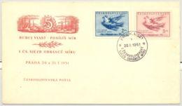 PEACE CONGRESS, DOVE, INDUSTRY, SPECIAL COVER, 1951, CZECHOSLOVAKIA - Tchécoslovaquie