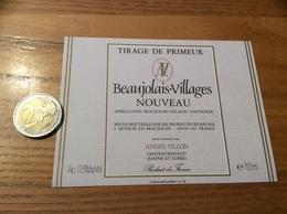 Etiquette Vin « BEAUJOLAIS VILLAGES NOUVEAU - ANDRÉ VILLON - CHATEAURENAUD (71)» - Beaujolais